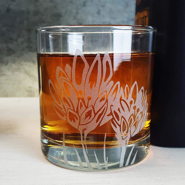 Lotus Etched Whiskey Glass 1