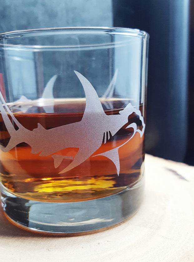 Hammerhead Shark Etched Whiskey Glass 1
