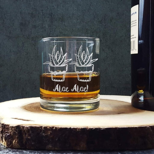 Aloe Succulent Pun | Etched Whiskey Glass Glassware- Monster Dance Designs
