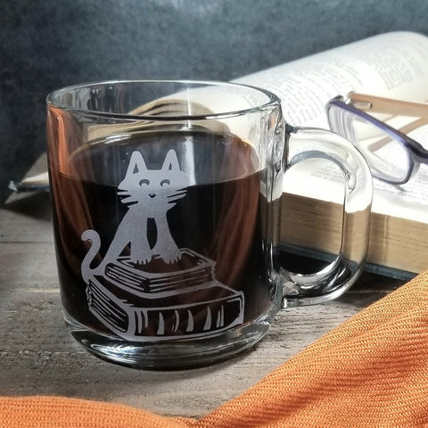 Cat Library Book Etched Glass Coffee Mug Mugs- Monster Dance Designs