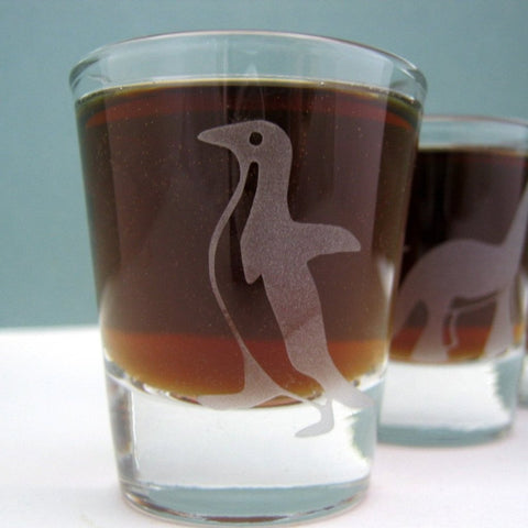 Awkward Penguin Etched Glassware - Monster Dance Designs - 1