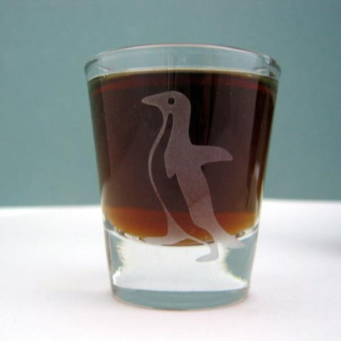 Awkward Penguin Etched Whiskey Shot Glass Glassware- Monster Dance Designs