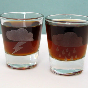 Storm Clouds Etched Shot Glasses