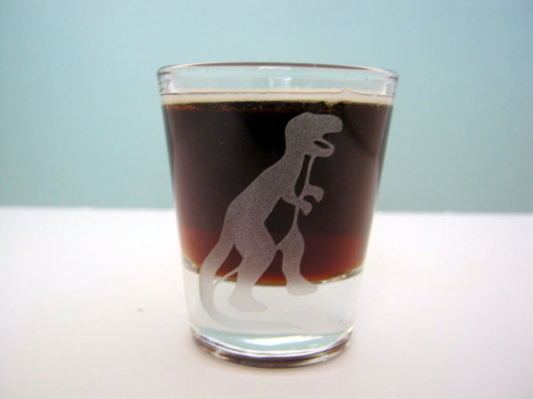 Dinosaur Quartet Sandblast Etched Shot Glasses - Monster Dance Designs  - 4