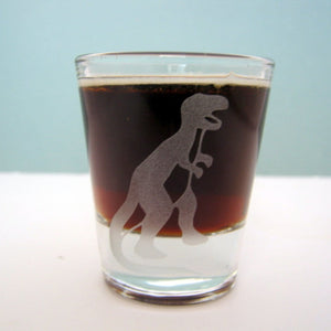 T-Rex Dinosaur  Etched Shot Glass