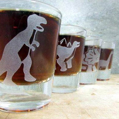 Dinosaur Quartet Sandblast Etched Shot Glasses Glassware- Monster Dance Designs