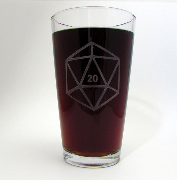 D20 DnD Polyhedral Dice Etched Pint Glass 1