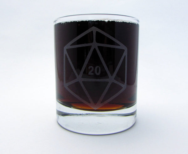 D20 DnD Polyhedral Dice | Etched Old Fashioned Whiskey Glass | DM Gift | Dungeon Master | Personalized Glass | RPG | Dungeons and Dragons Glassware- Monster Dance Designs