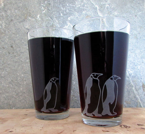 Emperor Penguins Marching Etched Glassware Glassware- Monster Dance Designs