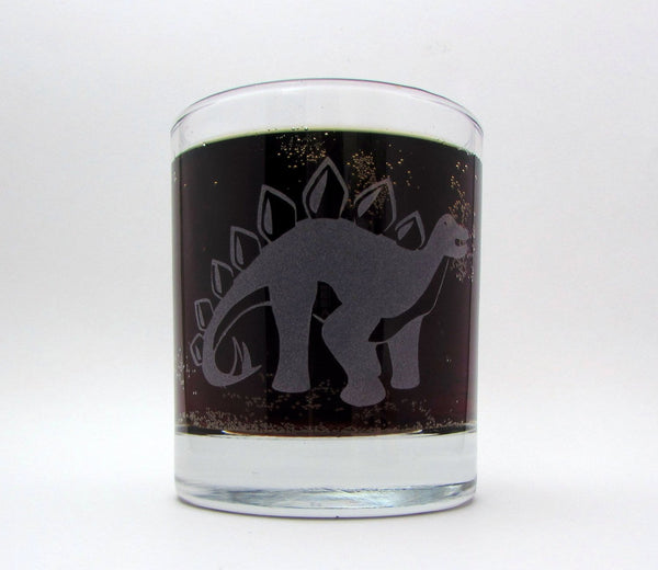 Stegosaurus Etched Glassware Glassware- Monster Dance Designs