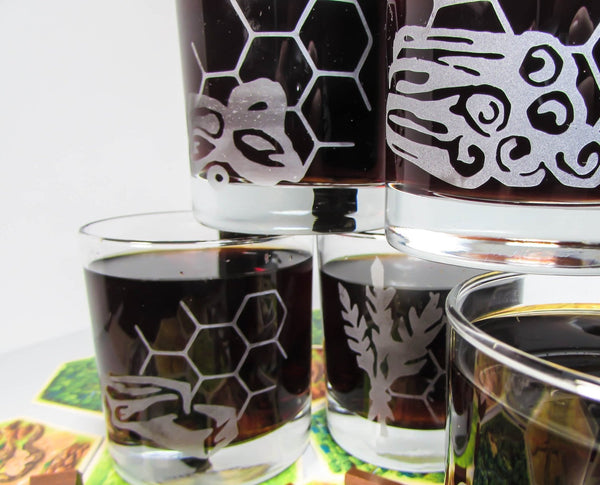 Settlers of Catan Etched Glasses | Catan | Tabletop | Whiskey Glasses | Board Game Gift Glassware- Monster Dance Designs