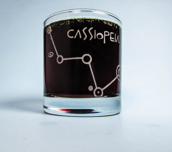 Cassiopeia | Etched Whiskey Glass | Star Map | Constellation | Astronomy Gift | Science Gift | Old Fashioned | Rocks Glass