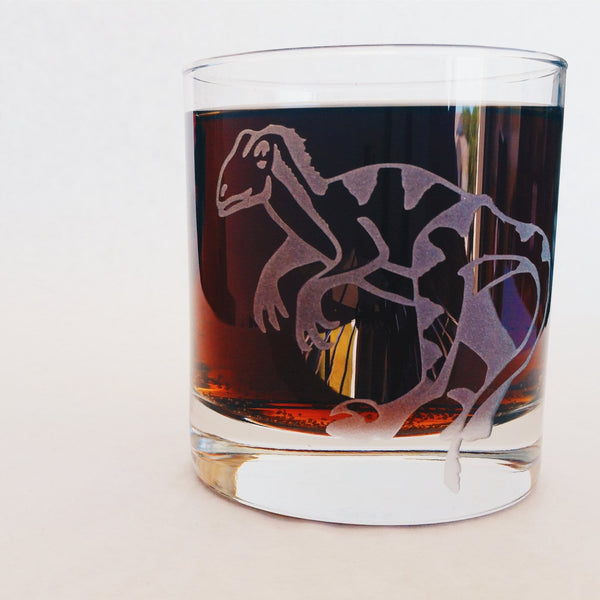 Dinosaur Raptor Velociraptor | Etched Glass | Whiskey Glass | Science Gift | Dinosaur Decor | Dinosaur Gift | Jurassic Park | Rocks Glass