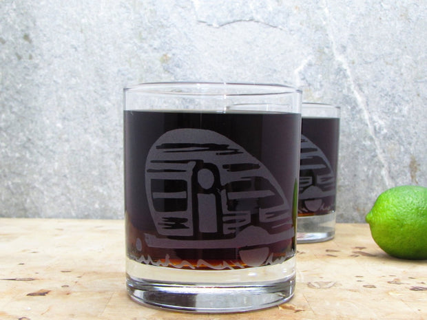Camper Teardrop Trailer Etched Whiskey Glass 1