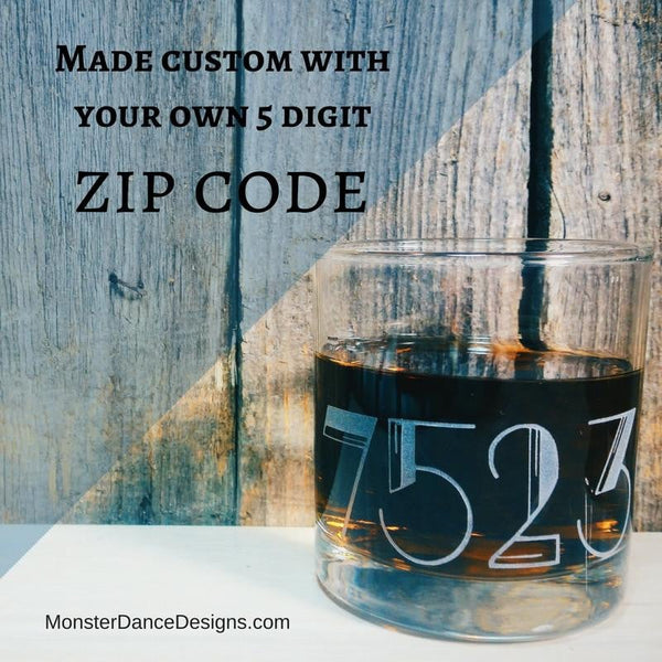 Zip Code Customized Etched Old Fashioned | Scotch | Rocks Glass - Monster Dance Designs  - 1