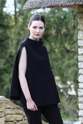 Monks on Vacation Black Cape Top