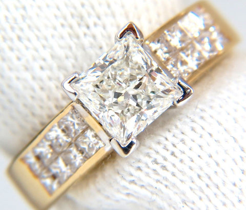 GIA 2.03CT PRINCESS CUT DIAMONDS RING & CHANNEL SIDE DIAMONDS BRILLIANT