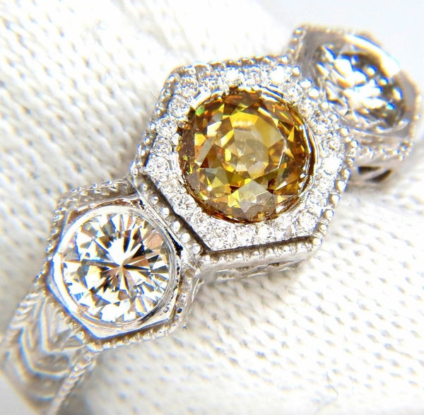 GIA 2.30CT FANCY YELLOW BROWN DIAMONDS RING 18KT EDWARDIAN CROWN DECO