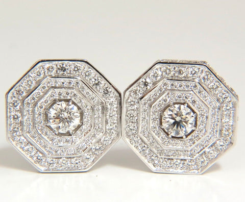 4.00CT BEAD SET ARCHITECTURAL OCTAGONAL STEP DIAMONDS CLIP EARRINGS 18KT