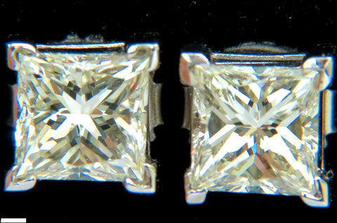 2.00CT NATURAL PRINCESS CUT DIAMOND STUD EARRINGS J/SI-1 14K
