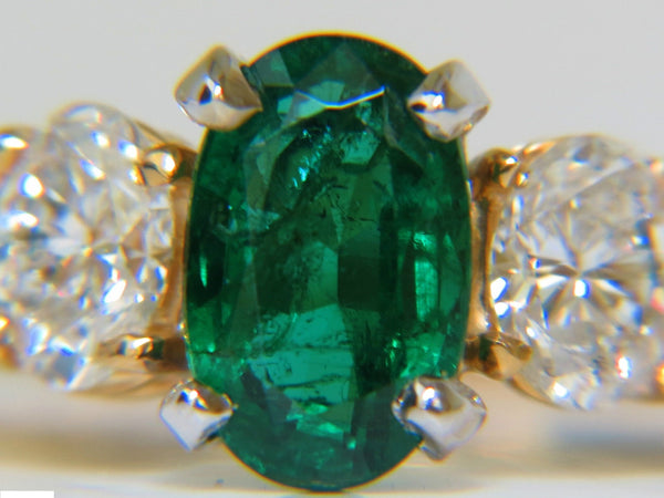 3.20ct NATURAL EMERALD DIAMOND RING CLASSIC 3 14KT A+ ZAMBIA