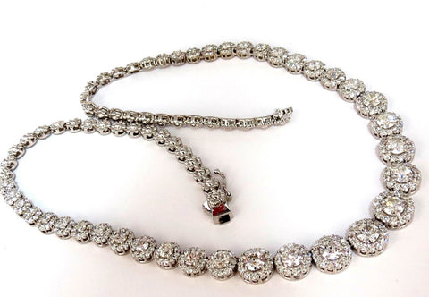 9.50CT NATURAL DIAMONDS NECKLACE CLUSTER HALO