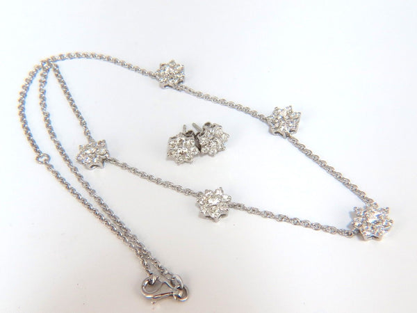 5.50CT NATURAL DIAMONDS FLOATING CLUSTER EARRINGS NECKLACE SUITE 18KT
