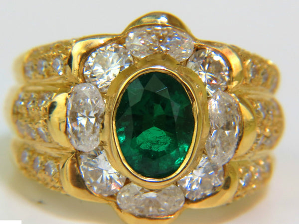 18KT 4.00CT NATURAL EMERALD DIAMOND RING CUSTOM DETAIL & A+ COCKTAIL