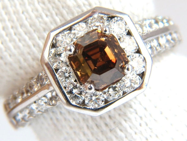 2.22CT NATURAL FANCY GOLDEN BROWN ASSCHER CUT DIAMOND RING 14KT VS