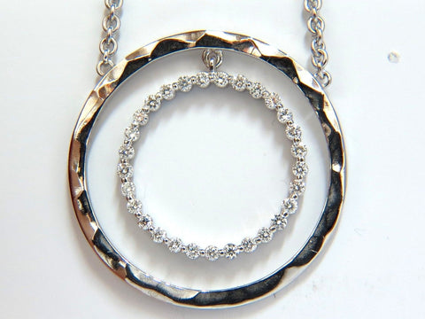 1.00ct. DIAMONDS DANGLING CIRCLE WITHIN CIRCLE BY YARD NECKLACE 18KT