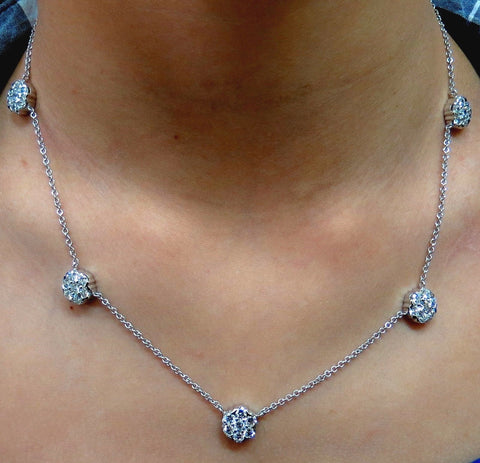 4.40CT NATURAL DIAMONDS CLUSTER BY YARD NECKLACE G/VS 14KT 16 Inch Float