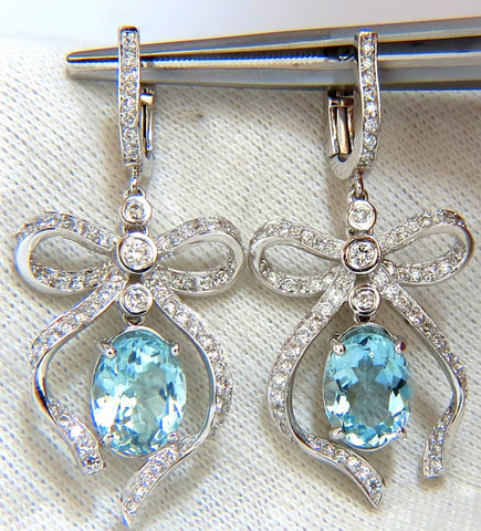 5.95ct natural aquamarine diamonds dangle earrings 14kt ribbon bowtie deco