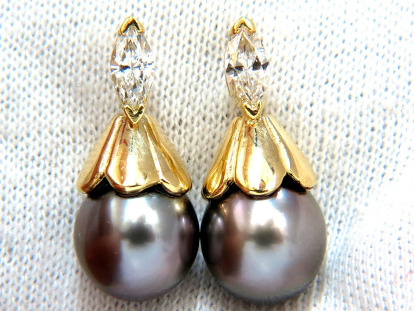 10mm natural tahitian pearl & .80ct diamonds drop cap earrings 14kt.
