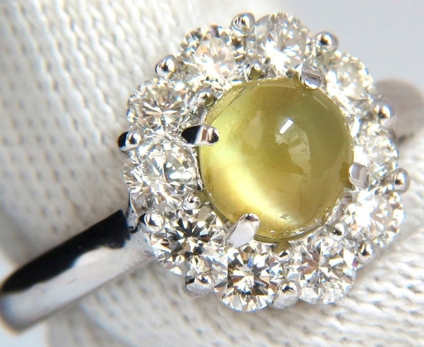 2.95ct natural cabochon chrysoberyl cats eye diamonds ring 14kt