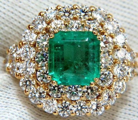 GIA 7.51 Natural Colombia bright green emerald diamonds ring 18kt