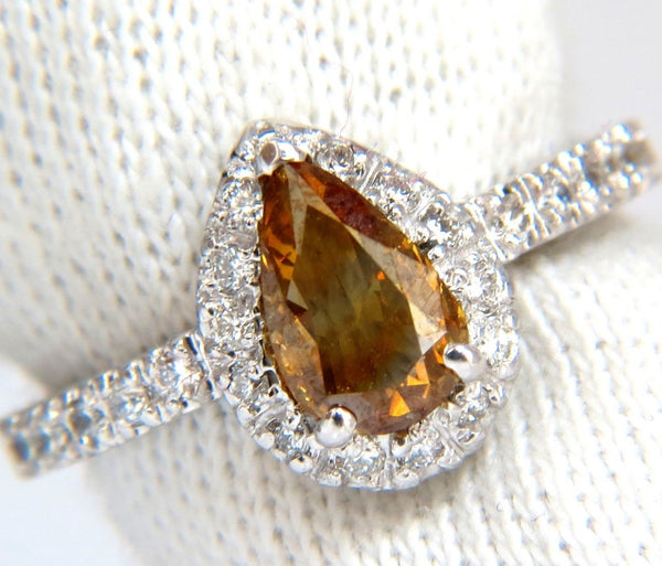 1.60ct. natural fancy color yellow brown diamonds halo ring 14kt