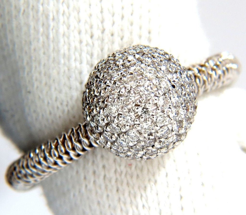 76ct diamonds bead set ball ring 18kt + coil wire wrapped shank g/vs ...