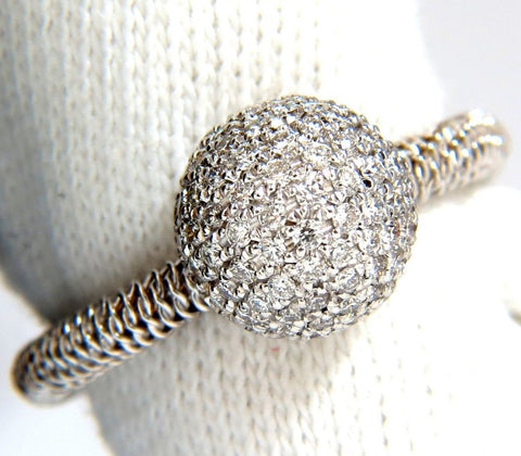 .76ct diamonds bead set ball ring 18kt + coil wire wrapped shank g/vs