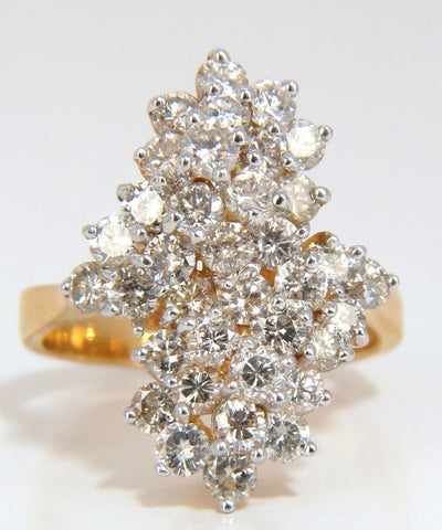 1.80ct ladies raised double peaked cluster cocktail diamonds ring 14kt