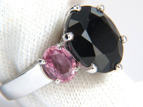 13.00ct. natural black & pink sapphire diamonds ring 14kt. white gold