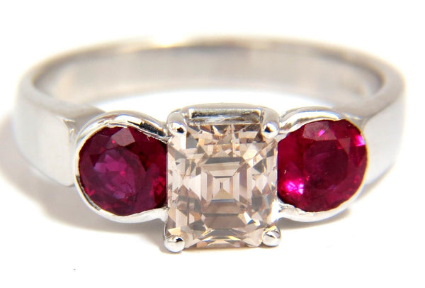 2.46CT Natural fancy color light brown diamond ruby ring 18kt. Three Stone