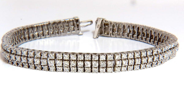 5.50ct natural round brilliant diamonds three row tennis bracelet 14kt