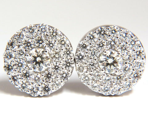 GIA Certified 4.60ct. Matching diamond cluster circular earrings omega