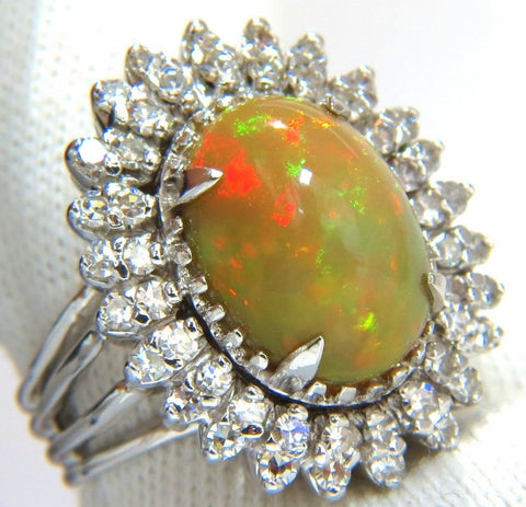 GIA 7.17ct natural cabochon opal diamonds sunburst cocktail ring 14kt. a+ colors
