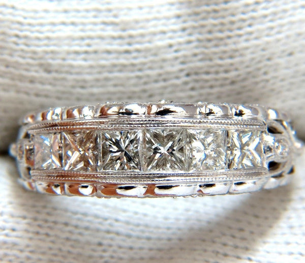 1.45ct natural princess cut diamonds band 14kt g/h/vs gilt etch detail