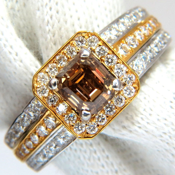 3.10ct natural fancy yellow brown diamond raised halo mod deco ring 14kt