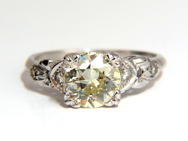 1.33c vintage class old mine cut natural diamond engagement ring platinum