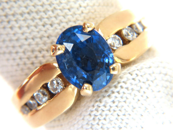 GIA 2.66ct natural no heat sapphire diamond ring 14kt. unheated blue