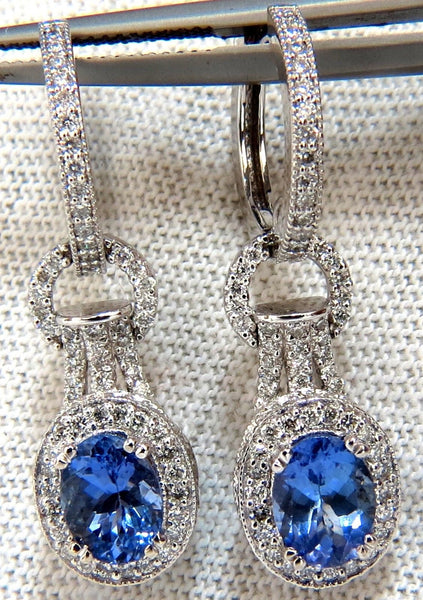3.40CT. NATURAL OVAL BRILLIANT TANZANITE DIAMONDS DANGLE EARRINGS 14KT