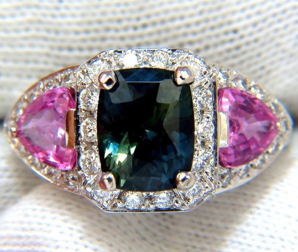GIA 6.19ct NATURAL NO HEAT GREEN BLUE SAPPHIRE DIAMONDS RING UNHEATED